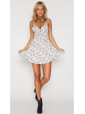 Bestseller V Neck Floral Beach Sundress in White - Selerit