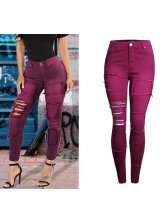 Stylish Ripped Hollow Out Skinny Jeans in Wine Red - Selerit