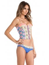 Colorful Printing Hollow Out 2 Pieces Swimsuit in Yellow - Selerit