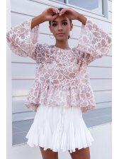 Sweet Perspective Ruffles Lace Ladies Blouse in Pink - Selerit
