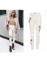 European Style High Waist Embroidery Worn Out Jeans