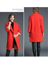 New Arrival Lapel Embroidery Long Coat
