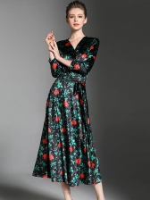 Newly Floral V-Neck Smart Waist Elegant Dress
