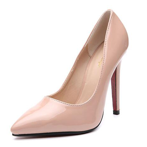 Solid Pointed Heels Pumps in Black/Apricot - Selerit