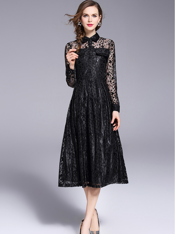 Euro Chic Long Sleeve Lave Long Dresses