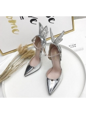 Bow Buckle Strap Pointed Pumps in Silvery/Black/Champagne - Selerit