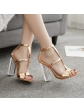 Roma Style Open Toe Perspex Chunky Heel Sandals