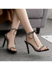 Euro Lace Up Cross Faux Jewels Sandals