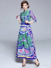 Ladies' Printed Green Maxi Dress with Sleeves, Retro Style, O Neck