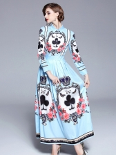 Exquisite Flower Printing Long Sleeve Dresses