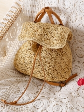 Fresh Hollow Out Straw Beach Backpacks - Selerit