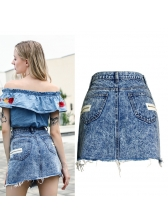 Hot Sale High Waist Zipper Denim A-Line Skirt in Blue - Selerit