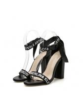 Euro Letter Chunky High Heel Stylish Sandals