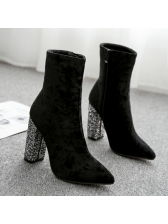 Hot Sale Bling Chunky High Heel Boots