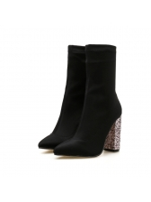 Euro Bling Chunky Pointed Black Mid Calf Boots