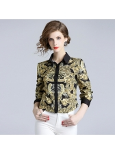 Fashionable Printed Patchwork Matching Blouse