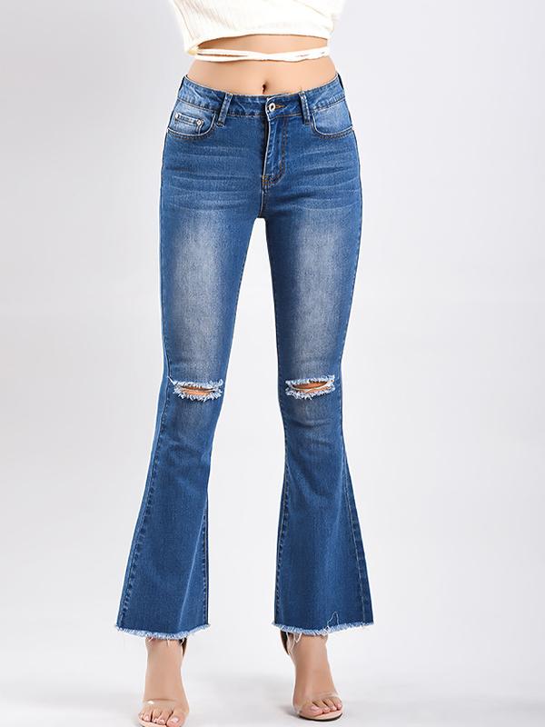 Stylish Hole Denim Flare Pants For Women in Light Blue - Selerit