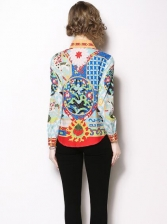 Euro Printed Spread Neck Fitted Women Blouse