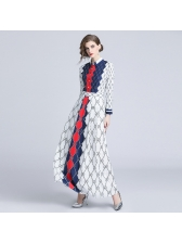 Fashionable Geometric Print Contrast Color Maxi Dresses