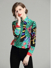 Euro Multicolore Printed Matching Female Blouse