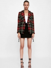 Euro Lapel Collar Plaid Woolen Blazers For Women