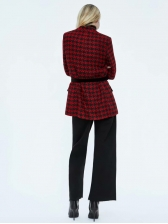 Euro V Neck Houndstooth Woolen Blazer For Women