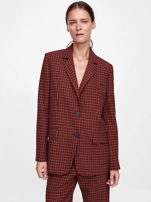 Lapel Collar Plaid Loose Red Blazer Womens