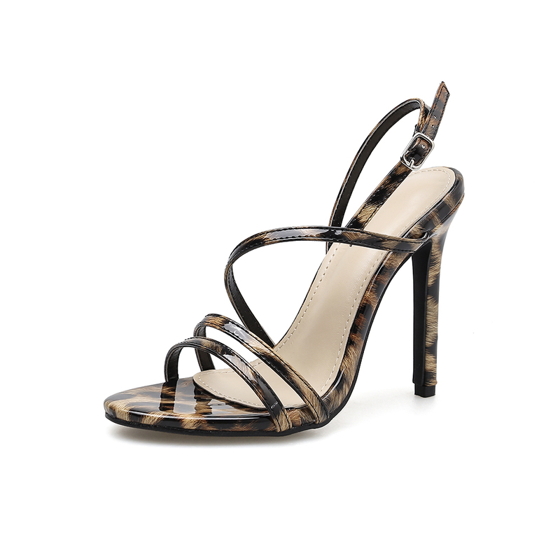 Sexy Leopard Print Thin Heel Strappy Sandals