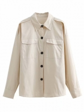 Single-Breasted Loose White Shirt For Women