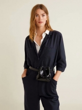 Single-Breasted Lapel Collar Tie-Wrap Navy Blue Jumpsuit