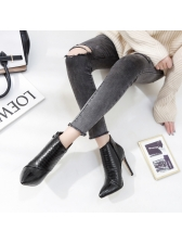 Pointed Toe Zipper Black Heel Ankle Boots