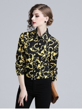Euro Style Printed Loose Woman Black Blouse