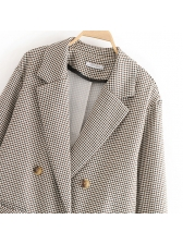 Fashion Lapel Double-Breasted Houndstooth Blazer