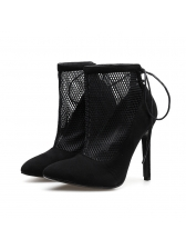 Sexy Hollow Out Pointed Black Heel Ankle Boots