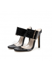 Euro PVC Black Heel Big Buckle Female Sandals