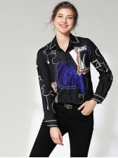 Fitted Printed Turndown Collar Versatile Casual Blouse