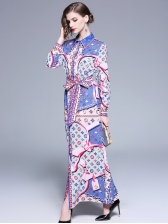Fashion Binding Bow Print Maxi Dress With Sleeves  - Selerit