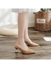 Korean Straw Element Pointed Flats in Black/Apricot/Brown - Selerit