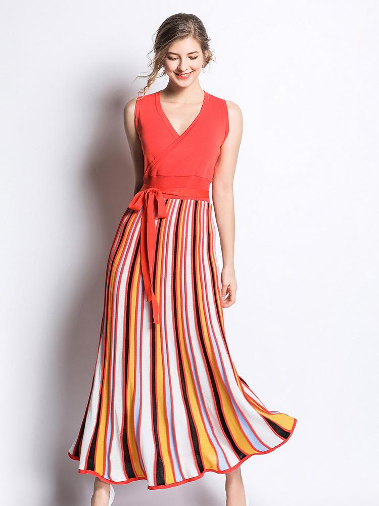 Striped Binding Bow Sleeveless Knitted Dress