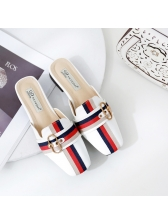 Metal Splicing Multi Color Mules Slippers in Black/White - Selerit