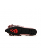 Bow Hot Drill Pointed Female Flats in Black/Pink - Selerit