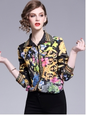 Euro Printed Button Up Matching Woman Blouse