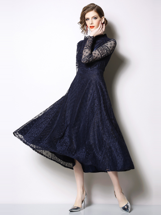 Elegant Long Sleeve Lace Maxi Dress Mock Neck/Blue/Red - Selerit