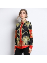 Euro Patchwork Button Up Golden Womens Blouse