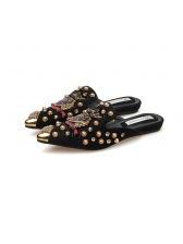 Pointed Beading Embroidery Mules Slippers in Black/Khaki - Selerit