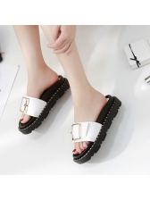Simple Design Metal Splicing Slide Slippers in White/Black - Selerit