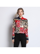 Euro Red Leopard Print Blouse Contrasting Colors/Turndown Neck - Selerit