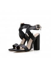 Solid Ankle Straps Pu Lady Sandals in Black/Brown - Selerit