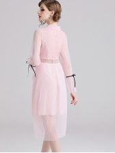 Flare Sleeve Gauze Patchwork Lace Dress in Pink - Selerit