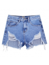 Irregular High Waisted Distressed Denim Shorts in Blue - Selerit